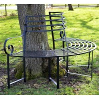 """""""Monmouthshire"""" Black Wrought Iron Deluxe Tree Seat"""
