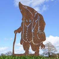 Rustic Mr Badger With Walking Stick Silhouette