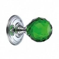 """Murano"" Green Diamond Cut Glass Mortice Knob Set"