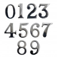 """Classic"" 1.5"" Bright Chrome Numbers with ""Fusion- Fix"" Adhesive"