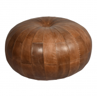 """The Woodstock"" Natural Brown Leather Round Pouffe"