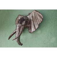 """Nelleria"" Wrought Iron Elephant Head For Wall Mounting"
