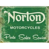 Norton Motorcycles Green Metal Sign