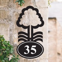 Nottingham Tree Iron House Number sign