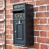 """Oakhampton"" Slim King George Post Box In Black"