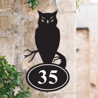 Owl Iron House Number Sign
