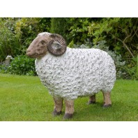 Painted Mountain Ram Sculpture
