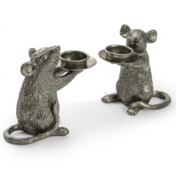 Pair of Silver Finish Mice Table Candle Holders