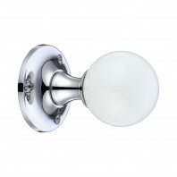 """Paladina"" Glass Ball Mortice Knob Plan White"