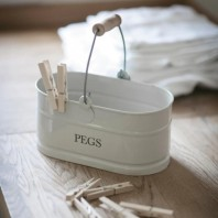 White Peg Bucket with Wooden Handle