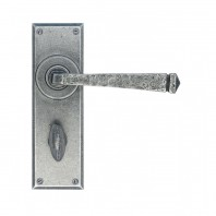 Pewter Finish Lever Handle With Thumb Lock