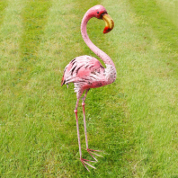 Pink Flamingo Metal Sculpture