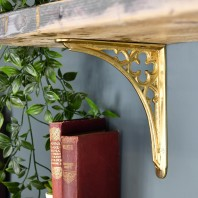Polished Brass Coalbrookdale 18 x 18cm Shelf Bracket