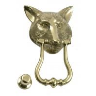 Polished Brass Fox Head Door Knocker