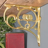 """Lotus Flower"" Brass Shelf Bracket 25 x 23cm"
