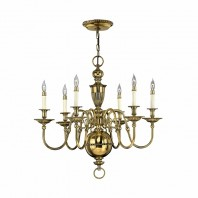 """Thornhamwood"" Polished Brass Six Candle Chandelier"