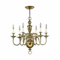 """Thornhamwood"" Polished Brass Six Candle Chandelier"