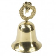 """Festive Frost"" Wreath Christmas Hand Bell - Polished Brass"