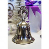 """Festive Frost"" Polished Nickle Wreath Christmas Hand Bell"