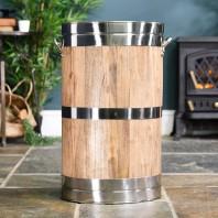 """Polished Steel """"Hofburg"""" Wooden Log Basket"""