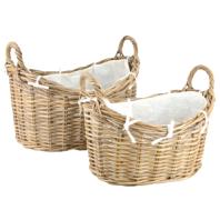 Set of 2 Traditional Rattan Log Baskets