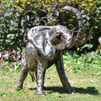 1ft Recycled Metal Elephant with Trunk Up