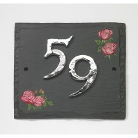 Red Roses Hand Painted Slate House Sign