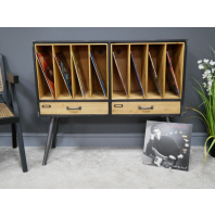 Wood & Metal Large Filing Cabinet with Two Drawers