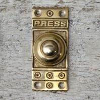 """Retro """"Push"""" Polished Brass Door Bell Push"""
