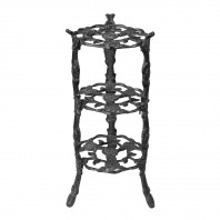 """Rose"" Black Cast Iron Side Stand"