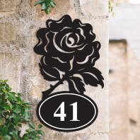 English Rose Iron House Number Sign