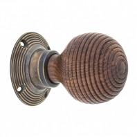 Rosewood & Antique Brass Door Knob Set