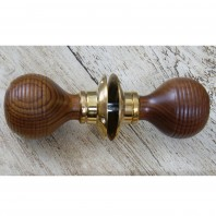 Rosewood Beehive Door Knobs With Polished Brass Rose - 5cm