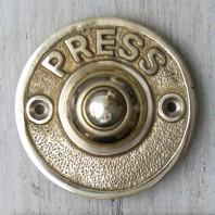 "Round ""Push"" Polished Brass Door Bell Push"