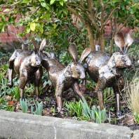 Bronze Running Rabbits Garden Sculpture