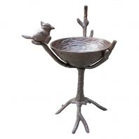 "Rustic ""Bird Sitting On Branch"" Bird Bath & Feeder"
