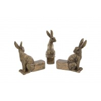Rustic Bronze Hare Plant Holders - Set of Three