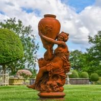 Rustic Cast Iron Greek Lady & Vase Sculpture - Facing Left