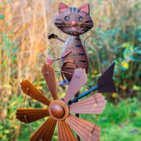 Rustic Cat Wind Spinner