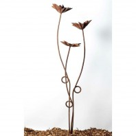 Rustic Flowers Garden Sculpture - 3 Stem