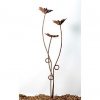 Rustic Gold Flowers Garden Sculpture - 3 Stem