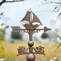Large Rustic Iron Sail Boat Weathervane