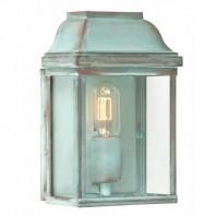 """Heathfield"" Verdigris Classic Brass Half Wall Lantern"