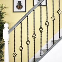 """Grosvenor"" Single Basket Rope Twist Stair Spindle with Brackets"