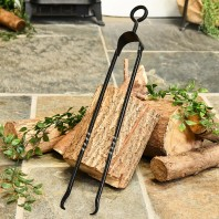"""Sajama"" Natural Iron Twist Fireplace Tongs"