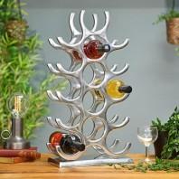 Polished Nickel 'Branches' 15 Bottle Wine Rack