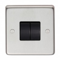 Satin Stainless Steel 10 Amp Double Light Switch