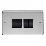Satin Stainless Steel 10 Amp Quad Light Switch
