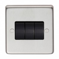 Satin Stainless Steel 10 Amp Triple Light Switch