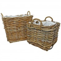 Set of 2 Natural Square Wicker Log Baskets